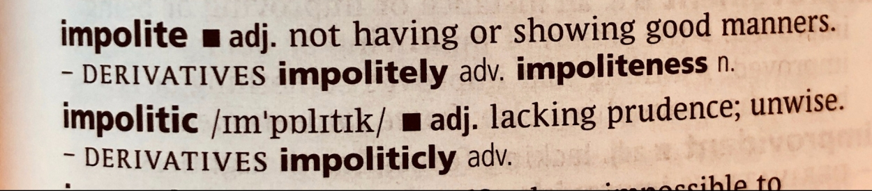 Dictionary definition of impolite & impolitic